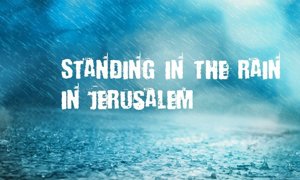 Standing in the Rain in Jerusalem Image